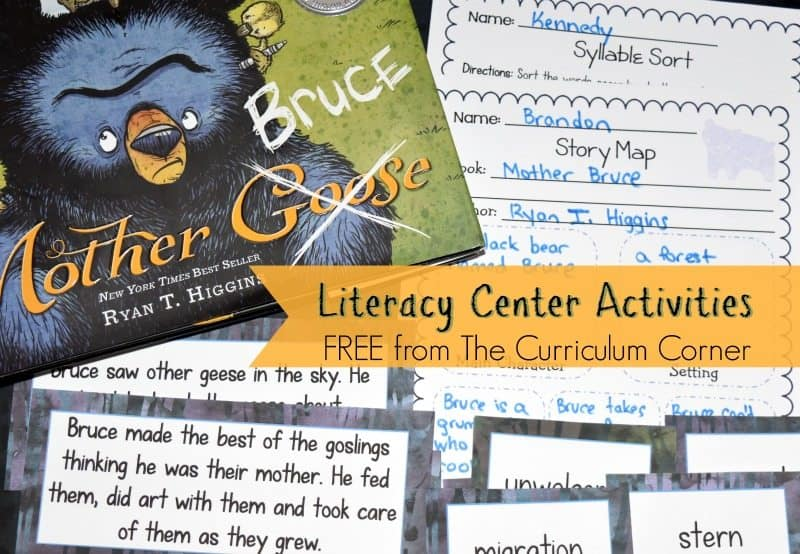 Mother Bruce Book Study - A free literacy center set created by The Curriculum Corner