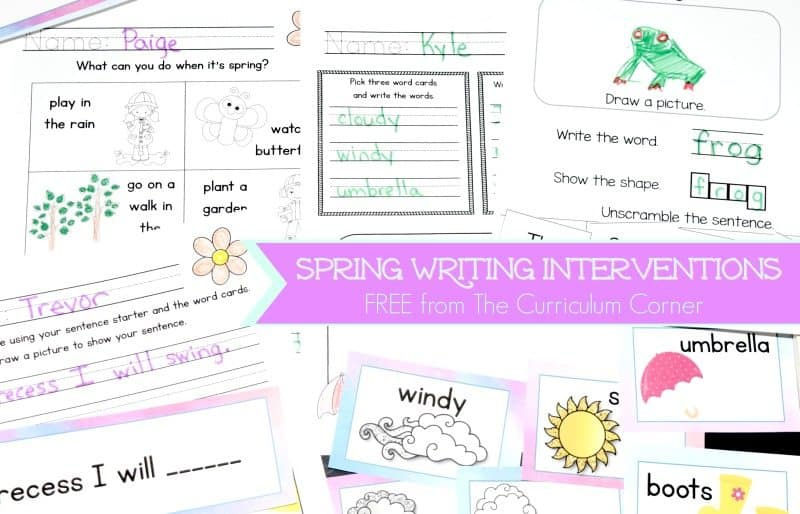 These spring writing interventions are designed to help you with those students that require a little prompting during writing.