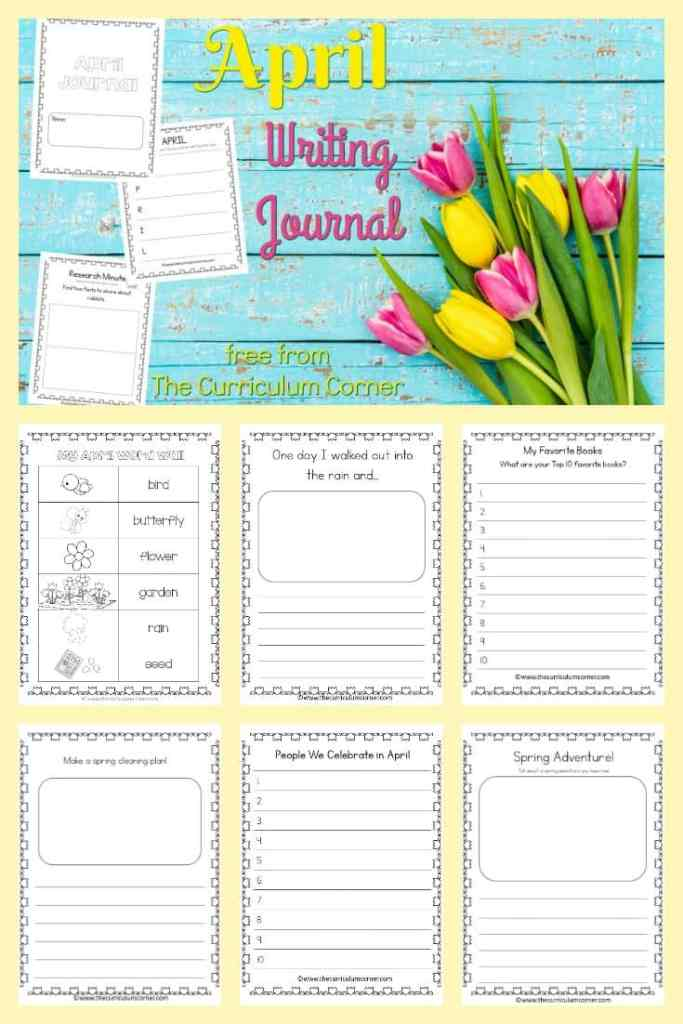 This April journal is designed for your primary classroom. Use the pages to create journals or individually for April writing prompts.
