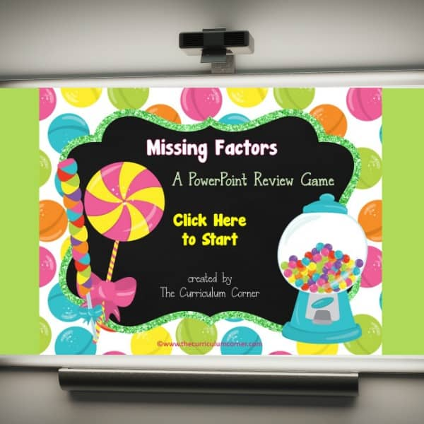 FREE Missing Factors Multiplication Game from The Curriculum Corner 2