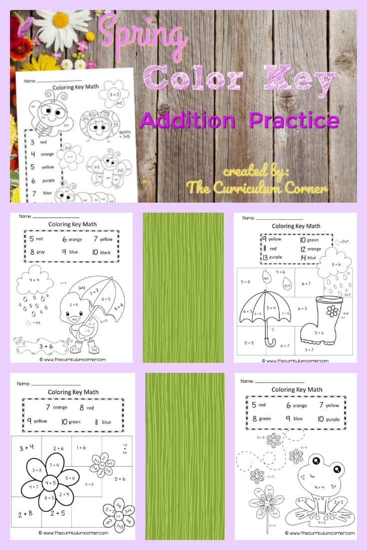 Spring Color Key Addition Practice - The Curriculum Corner 123