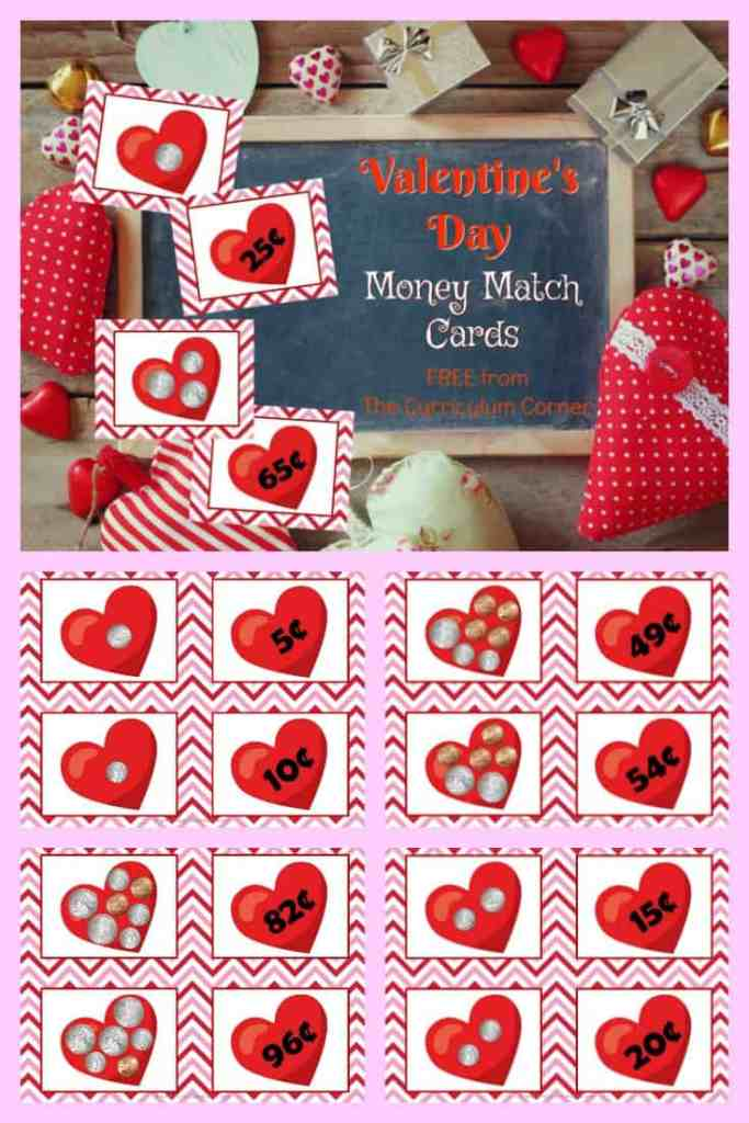 Valentine's Day Money Match Cards free from The Curriculum Corner 2