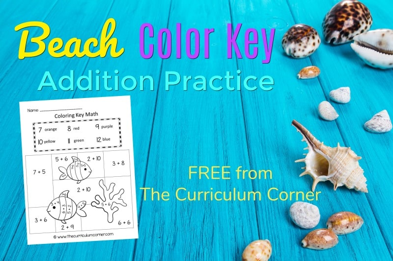 This beach color key addition is like a summer color by number set for math practice. FREE addition fact practice from The Curriculum Corner.