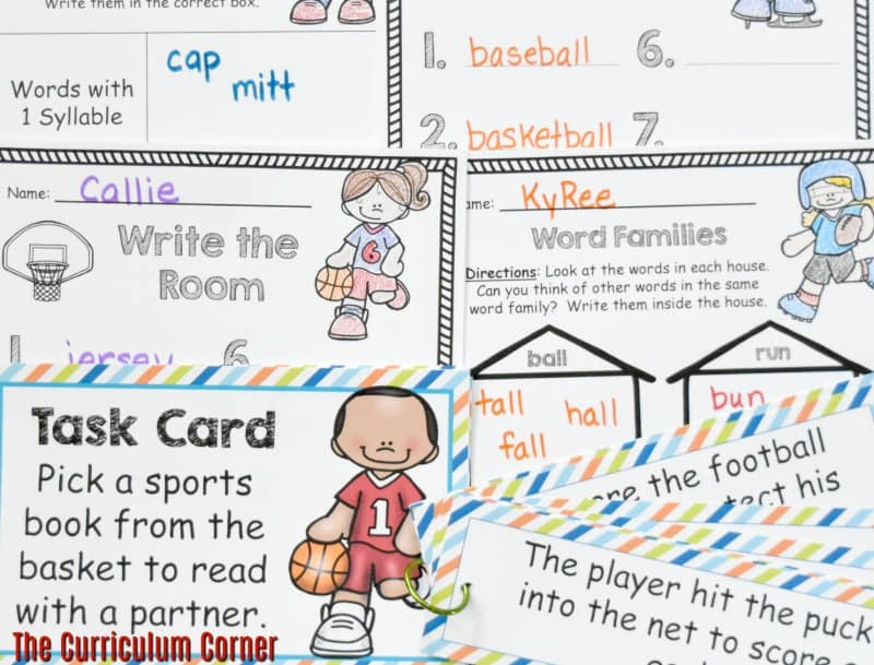 FREE Sports Literacy Pack from The Curriculum Corner   Word Work 2