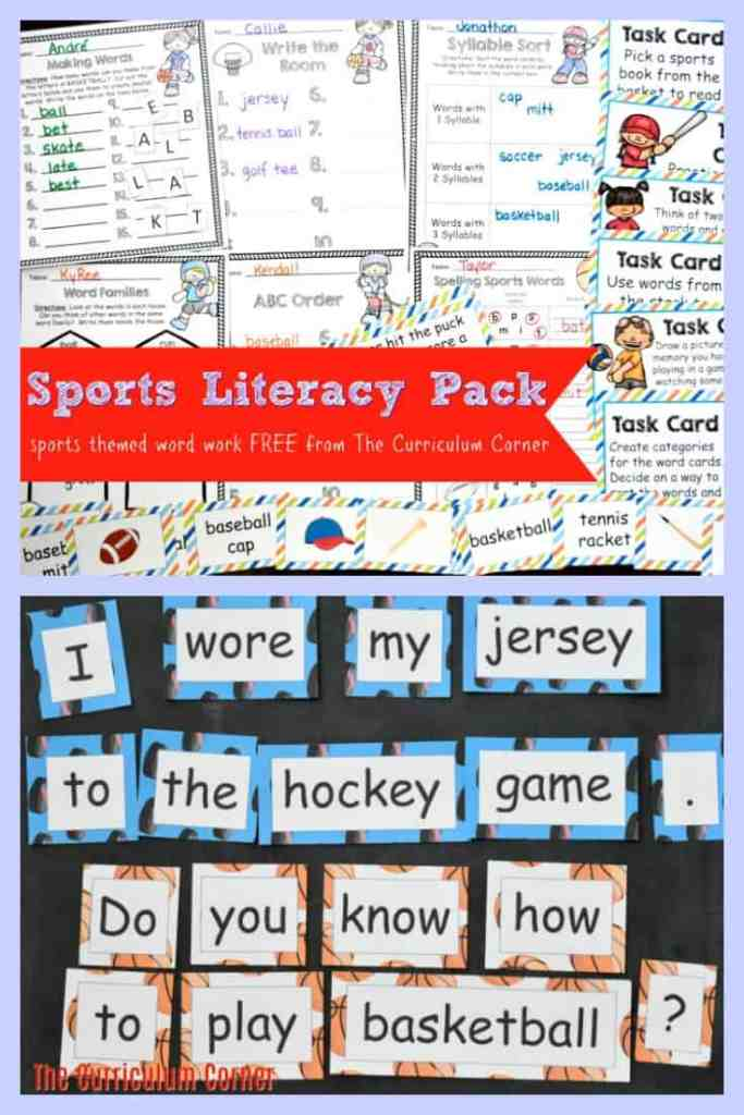 FREE Sports Literacy Pack from The Curriculum Corner | Word Work