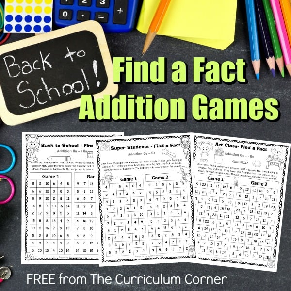Back to School Find a Fact Addition