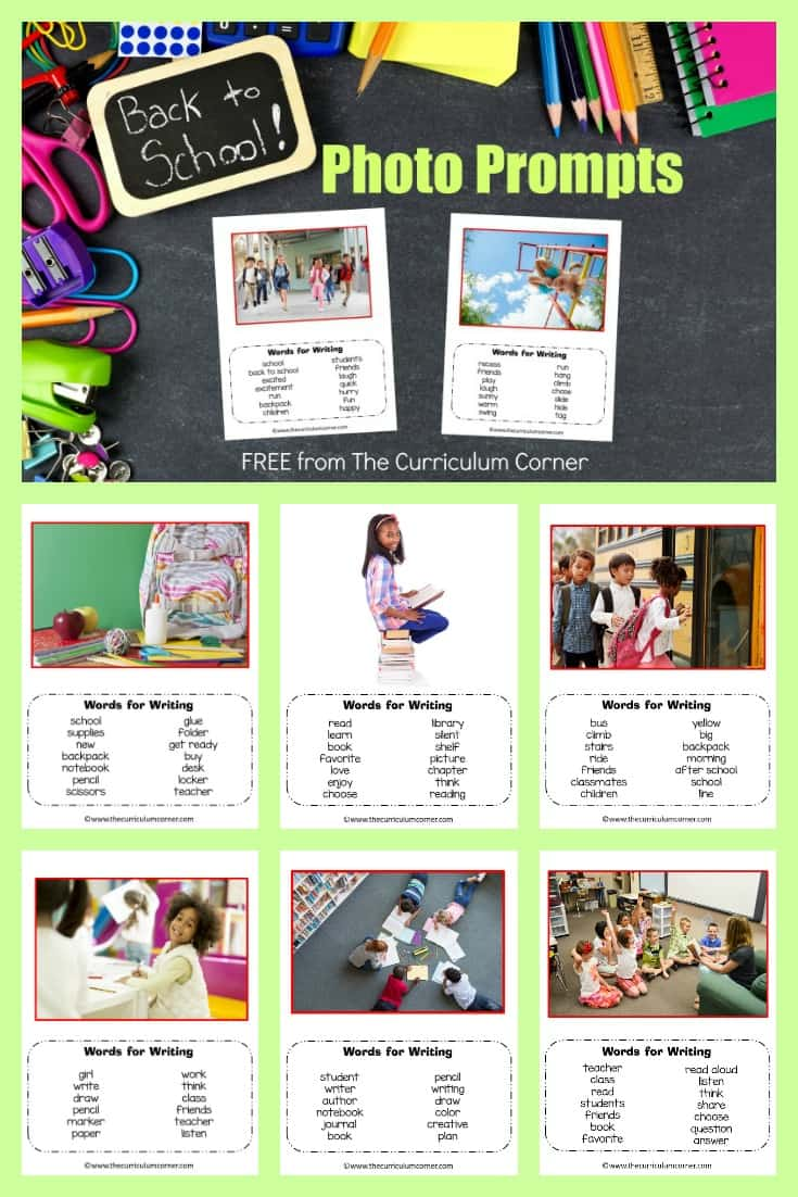 back to school photo prompts FREE from The Curriculum Corner