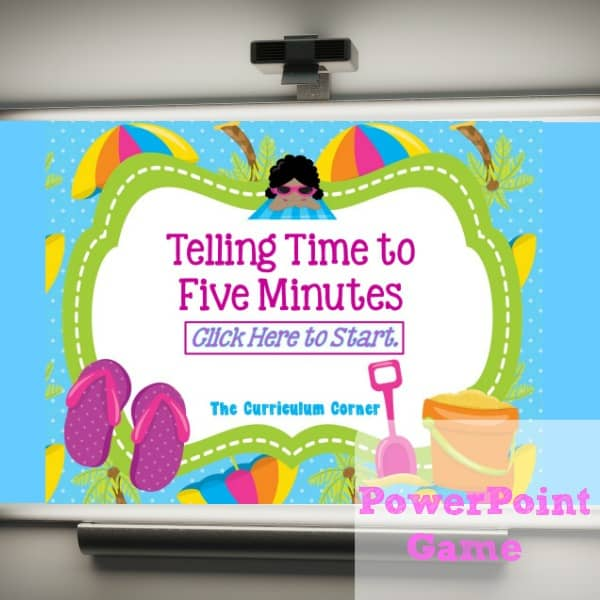 Use this fun summer themed telling time to five minutes PowerPoint game to give your students practice with reading analog clocks.