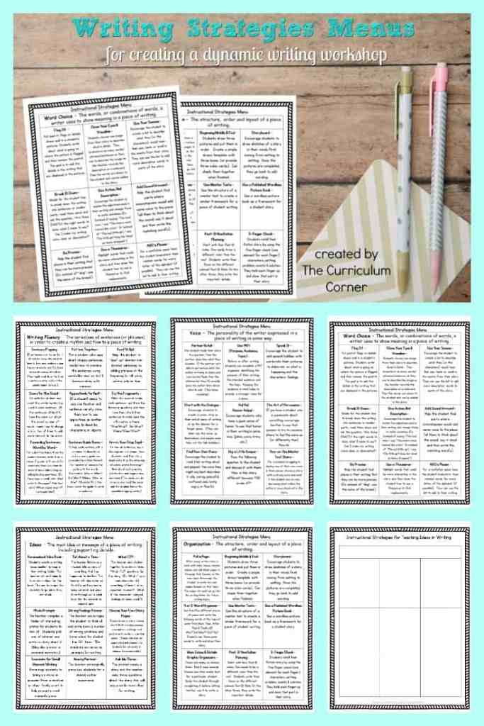 FREE Writing Strategies Menus by The Curriculum Corner