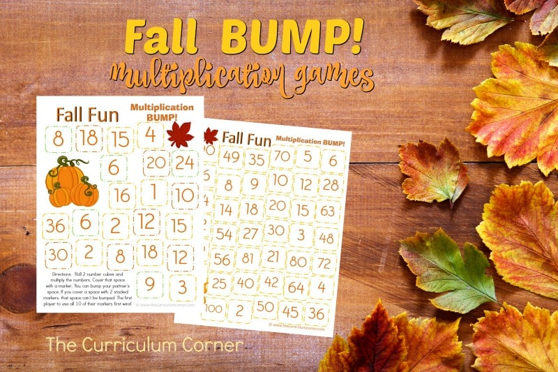This set of free Fall Bump! Games have been created to help your students work on mastering their multiplication facts.