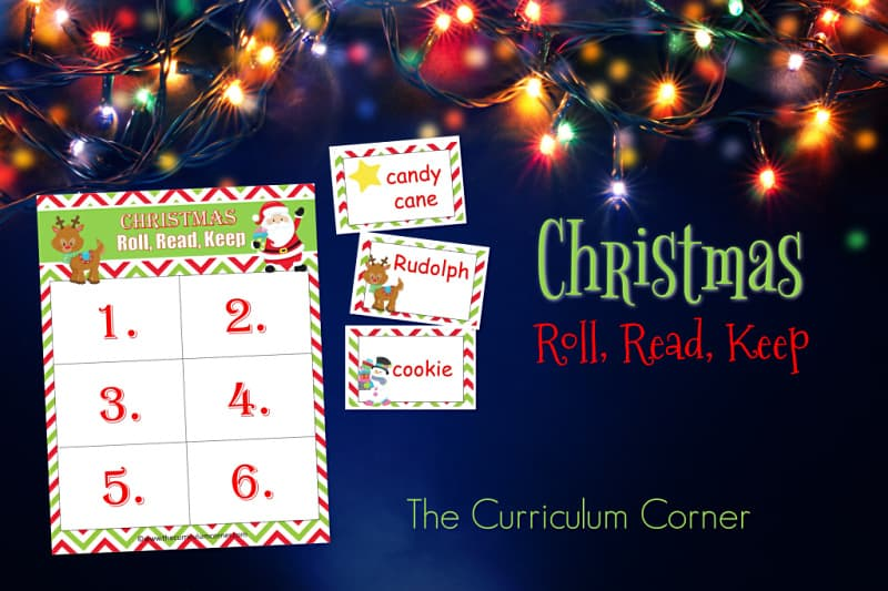 Create an engaging literacy center with this Christmas Roll Read Keep game,a free classroom resource from The Curriculum Corner.