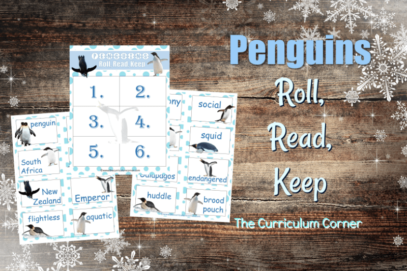 Create an engaging literacy center with this Penguin Roll Read Keep game, a free classroom resource from The Curriculum Corner.