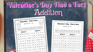 Valentine's Day Addition Find a Fact Games