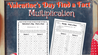 Valentine's Day Multiplication Find a Fact Games