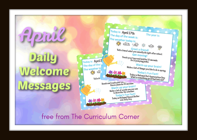April Daily Welcome Messages from The Curriculum Corner