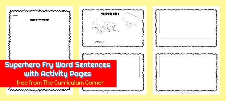 Superhero Fry Fluency Sentences - The Curriculum Corner 123