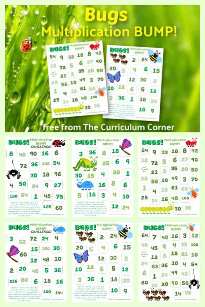 Bugs Multiplication BUMP Games! This set of free Bugs Multiplication BUMP Games have been created to help your students work on multiplication with a buggy spring theme.