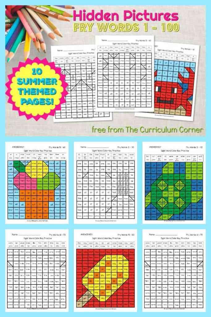 Summer Fry Word Hidden Pictures The Curriculum Corner 123
