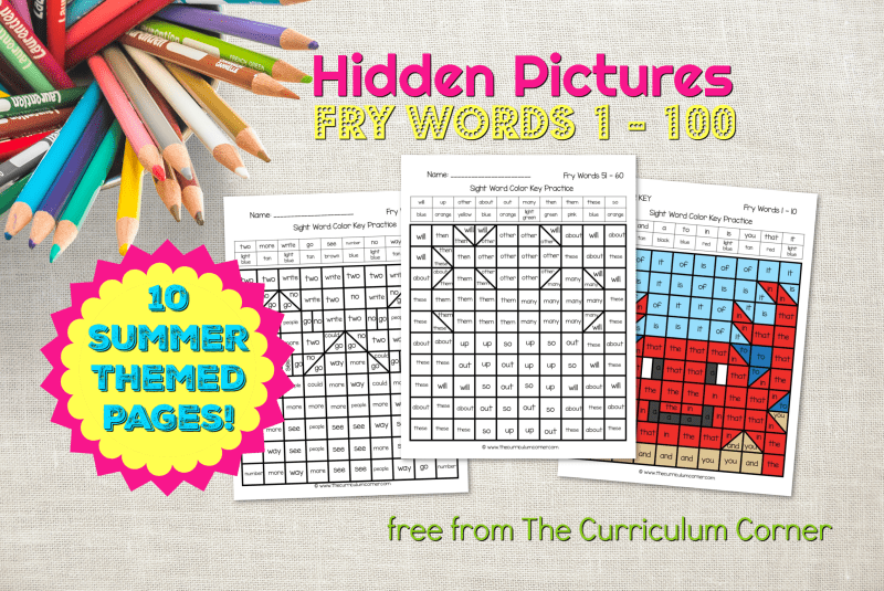 Summer Fry Word Hidden Pictures The Curriculum Corner 123