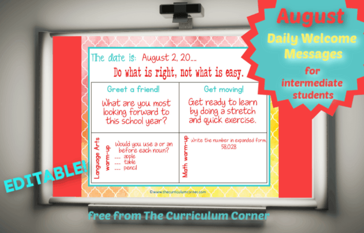 August Daily Welcome for Intermediate Classrooms