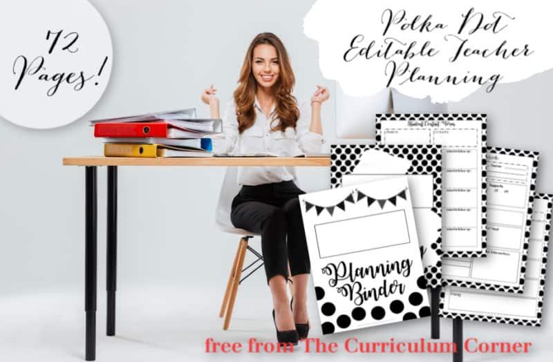 polka dot editable teacher binder