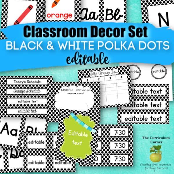 Classroom Decor: Black Polka Dots