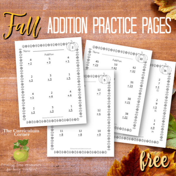 Fall Addition Practice Pages