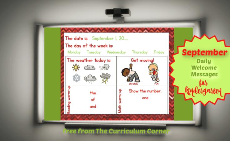 September Daily Welcome Messages for Kindergarten