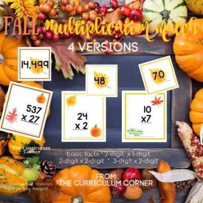 Fall Multiplication Match (many skills)