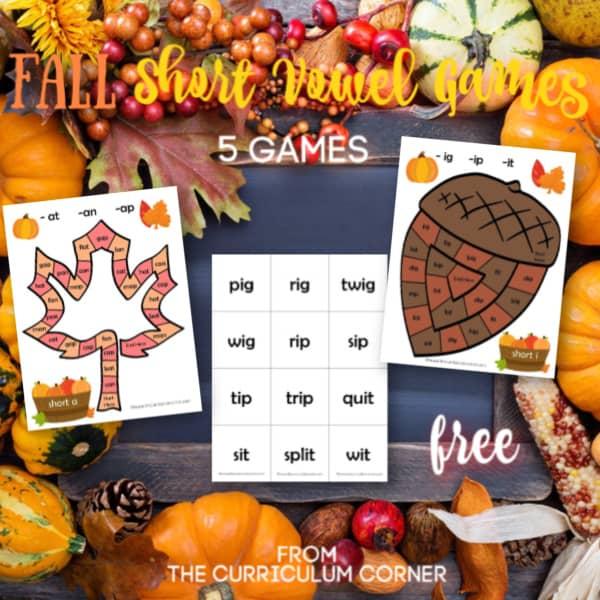 Fall Short Vowel Board Games
