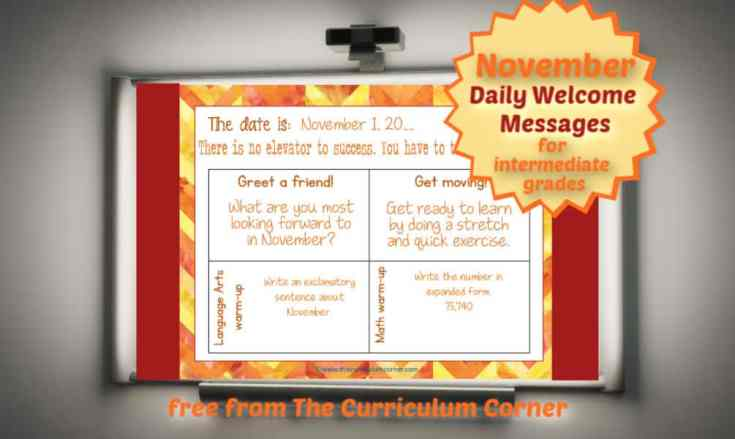 November Welcome Messages for Intermediate Students