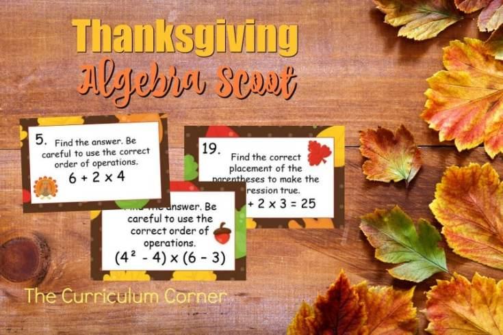 Thanksgiving Algebra Scoot Game