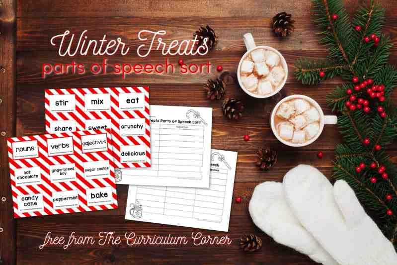 winter treats parts of speech sort
