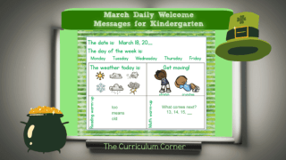 March Daily Welcome Messages for Kindergarten Classrooms