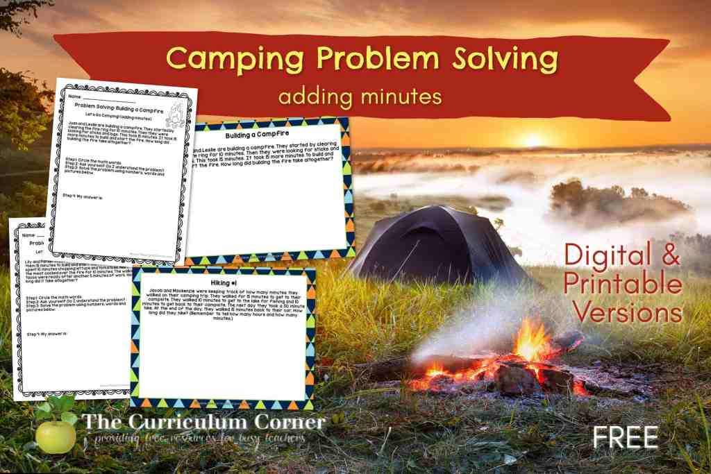 These camping themed problem solving pages will give your students practice with adding minutes in a worksheet and a digital format.