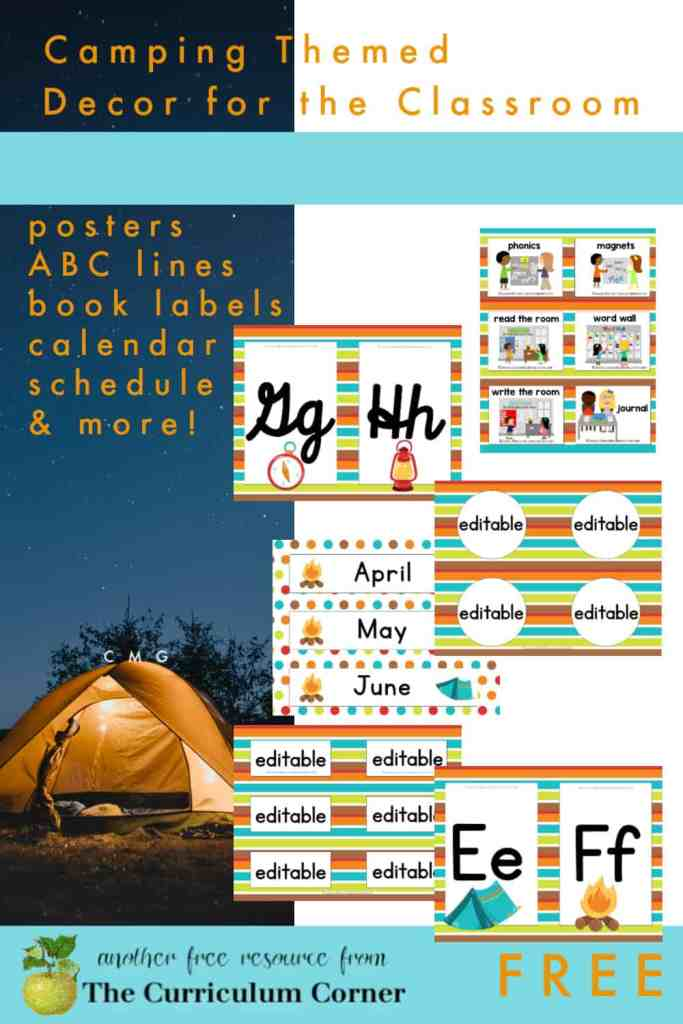 Use this printable camping classroom decor set to create a fun and organized classroom with a great theme.