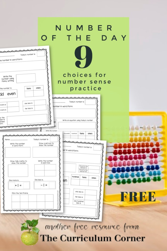 This collection of nine different number of the day worksheets will fit well into your daily number sense practice.