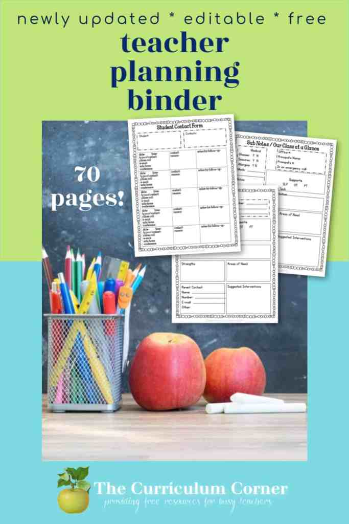 This free, editable teacher planning binder will help you get organized as you head into the new school year!