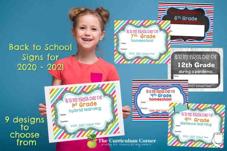 These first day of school signs are designed for heading back to school in the fall of 2020.
