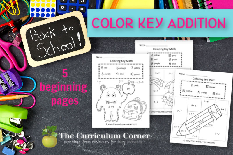 This Back to School Color Key Addition set will be a fun way to welcome your students into the classroom.