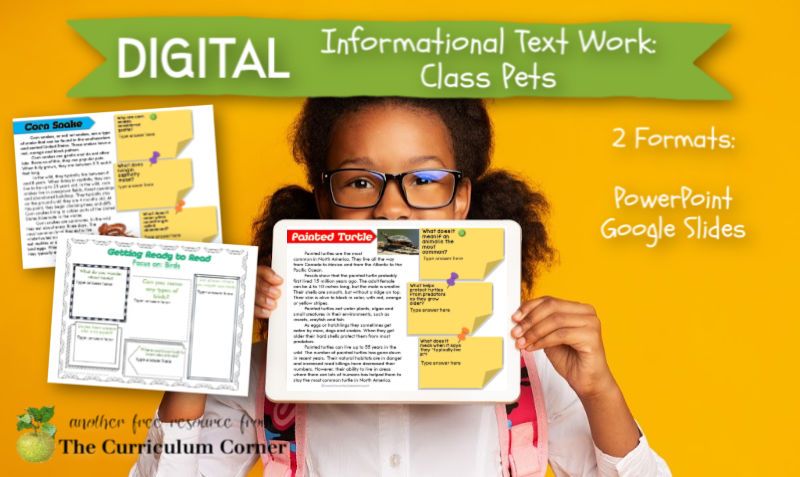 This digital informational text set focuses on class pets. Add this free set to your distance learning collection!