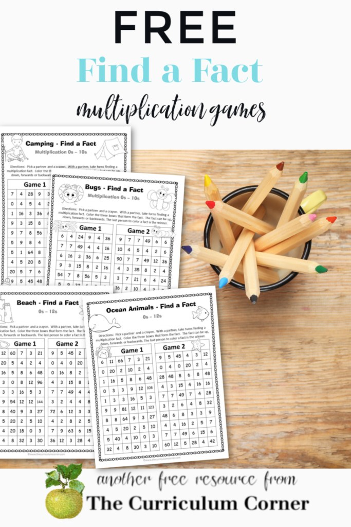Download these free multiplication fact games for a fun way for your children to practice math facts.
