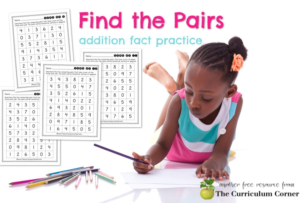 These free find the pairs math fact practice pages are designed to give your students addition fact practice.