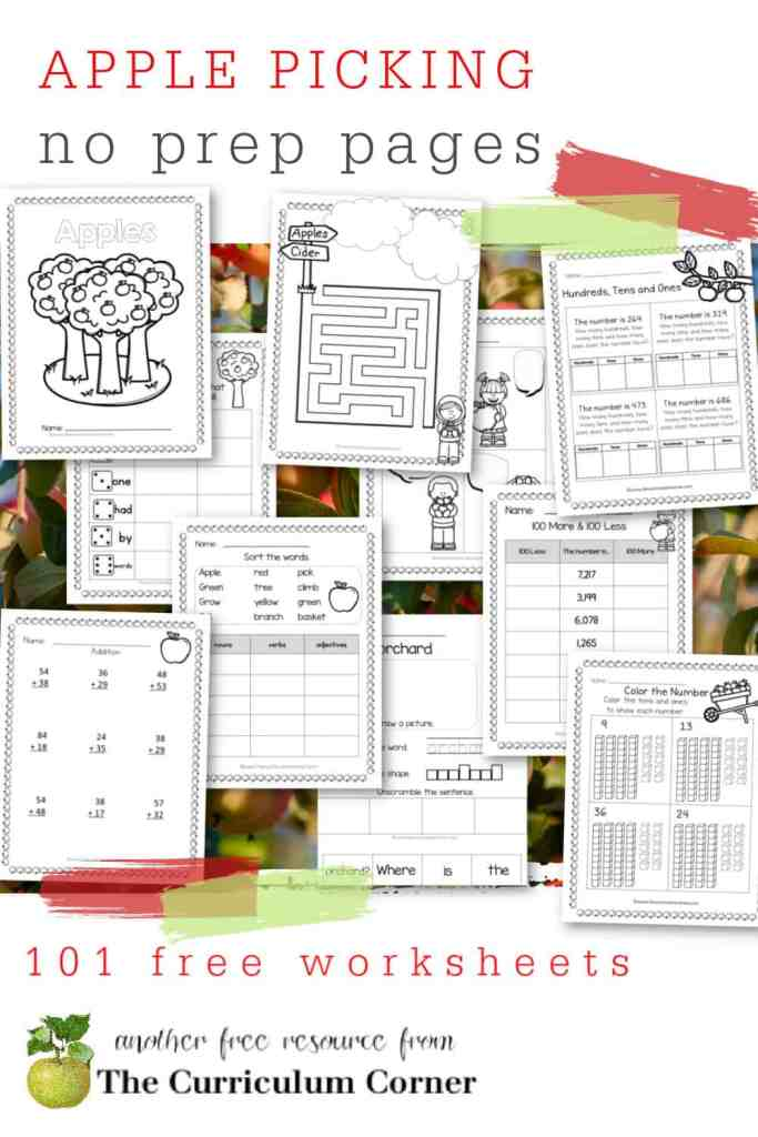 Add these free apple picking no prep pages to your fall printables for skill practice.