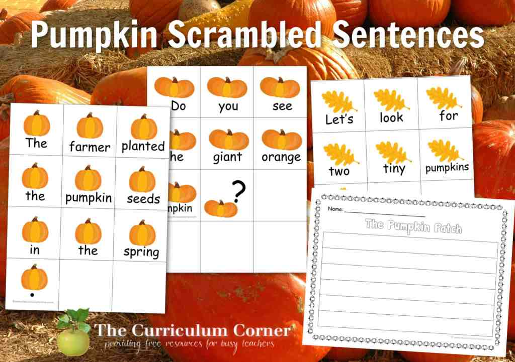 You can download these free Pumpkin Scrambled Sentences for an engaging literacy center this fall.