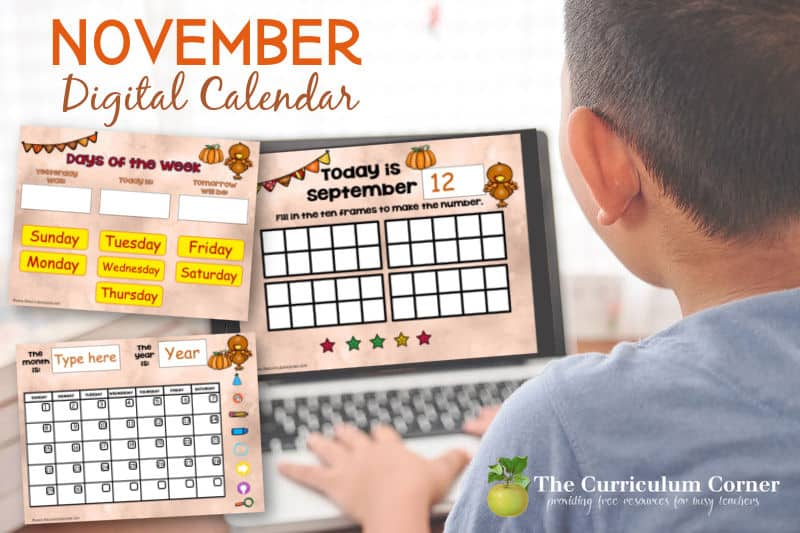 This moveable pieces November digital calendar is designed to help you with calendar time during your virtual instruction.