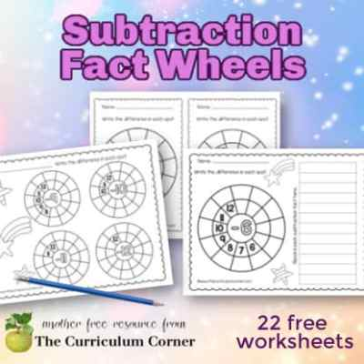 Subtraction Math Fact Wheels