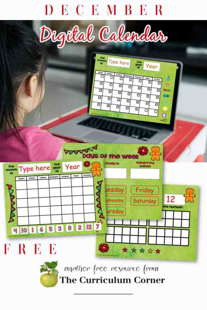 This moveable pieces December digital calendar is designed to help you with calendar time during your virtual instruction.