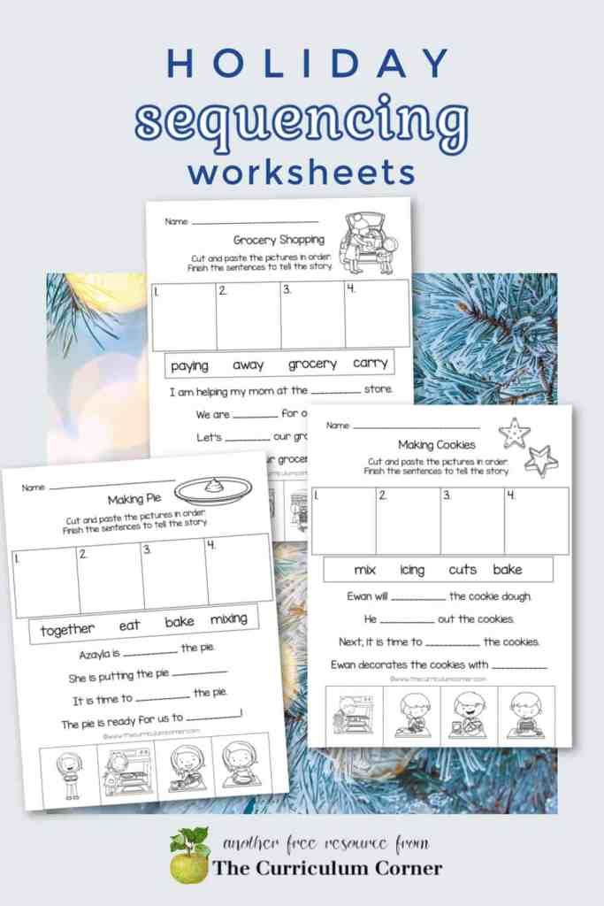 Download these holiday sequencing worksheets to help your children work on sequencing skills during the holidays.