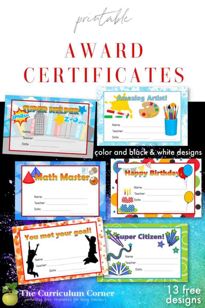 13 free, printable award certificates for your classroom